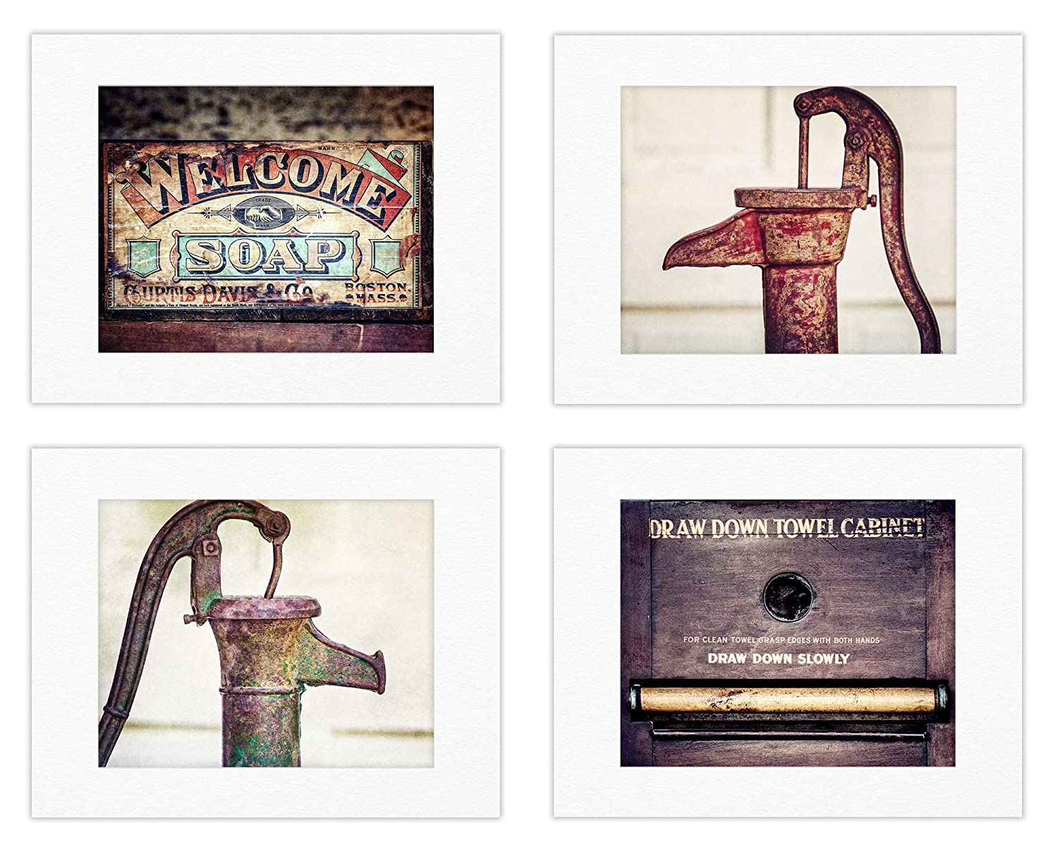 Rustic Country Bathroom Wall Art Decor Set of 4 Photo Prints or Matted Prints (Not Framed). Farmhouse Bath Pictures in Brown, Red, Green, Teal. (4 8x10 Prints with 11x14 Mats)