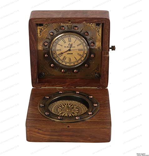 US HANDICRAFTS Authentic Clock Compass in Rose Wood Box, Vintage Gift