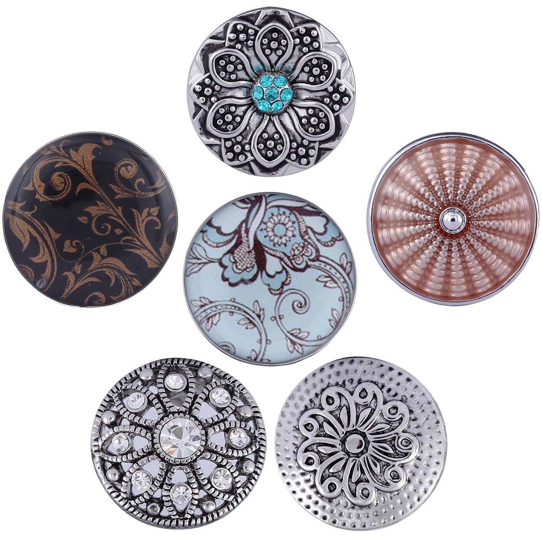 Morella boutons pression Lot de 6Click Button Argent Fleurs Noir Tradict GmbH 6NF_23.24
