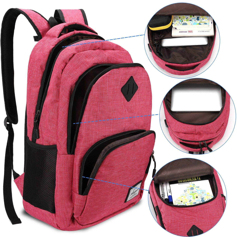Black Laptop Backpack,Augur Business Backpack School Rucksack for Women Men,35L Water Resistant Computer Backpack with USB Charging Port for 15.6 inch Laptop