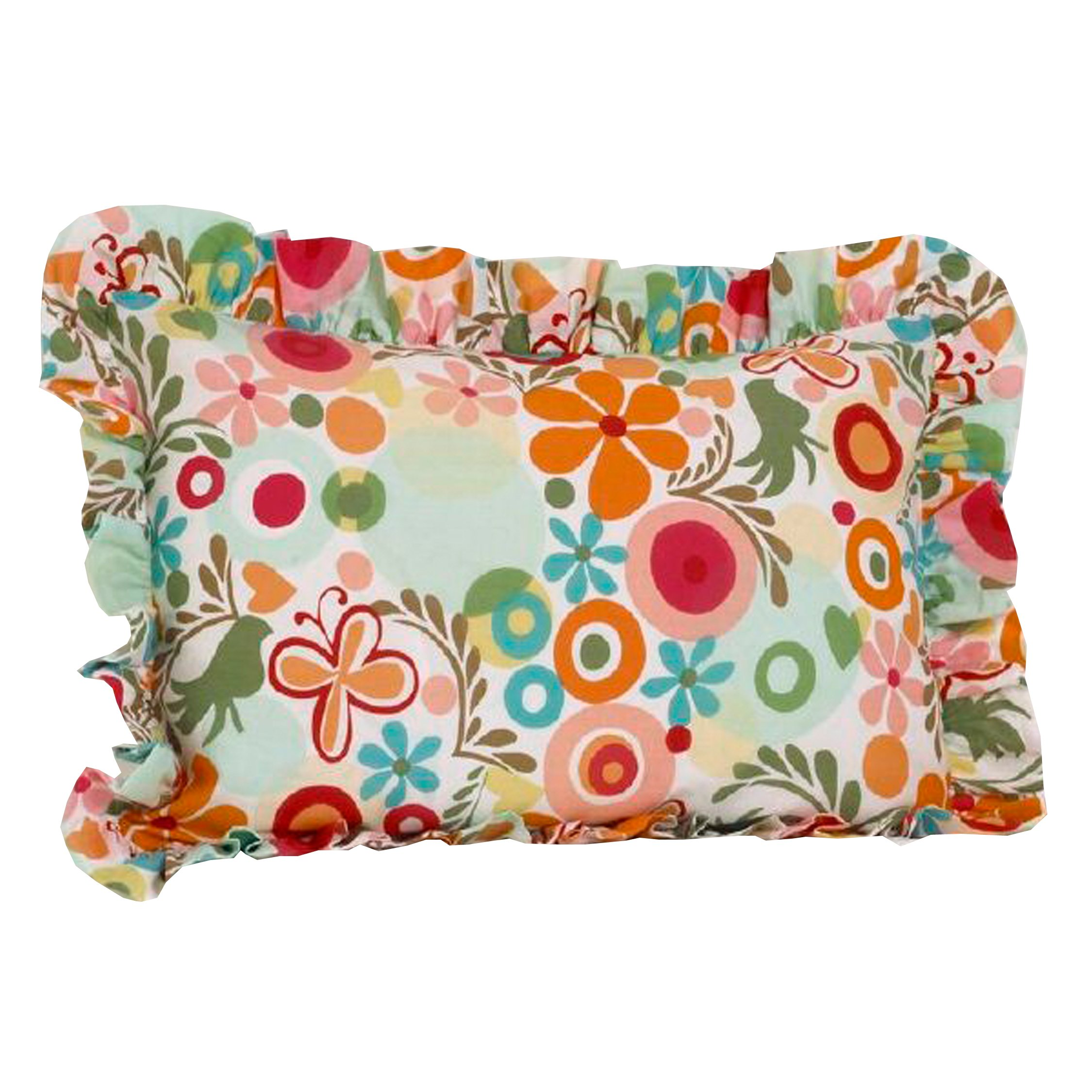 Cotton Tale Designs 100% Cotton Bright Bold Fun Floral Print Red, Pink, Turquoise, Blue, Orange, Green Multi Colored Lizzie Standard Ruffled Pillow Sham - Girl Flower Power- Pillow Cover by Cotton Tale Designs