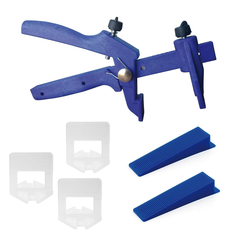 250 pcs lengü etas y 250 pcs cuñ a y 1 pcs pinzas, 1 mm Anchura de Junta/altura efko 3-15mm, Lantelme KaroFit Set de herramienta de sistema./ montaje/sistema por el que se/ayuda acostado/cables