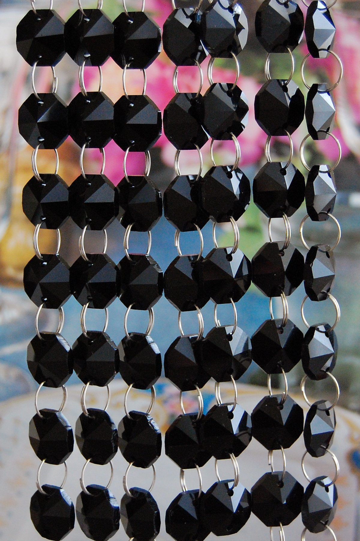 3 Feet Long of Black Lead Glass Crystal Octagon Chandelier Prisms Pedants Parts