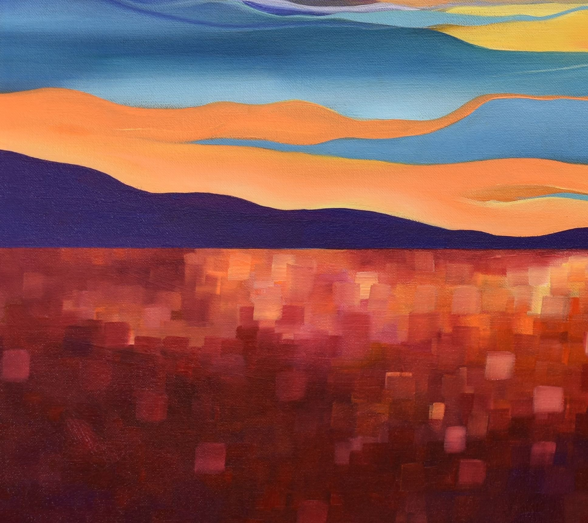 Red Field Sunset Landscape Painting