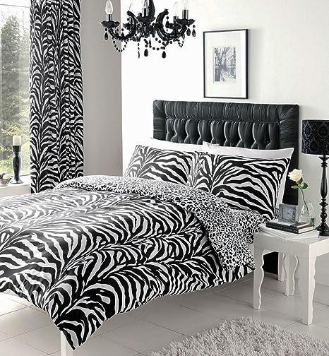 black white zebra print double duvet set with matching curtains 66 rh amazon co uk