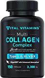 Multi Collagen Pills (Types I,II,III,V,X) 150 Capsules 3300 mg Grass Fed Collagen Peptides Enhanced Absorption for Anti…