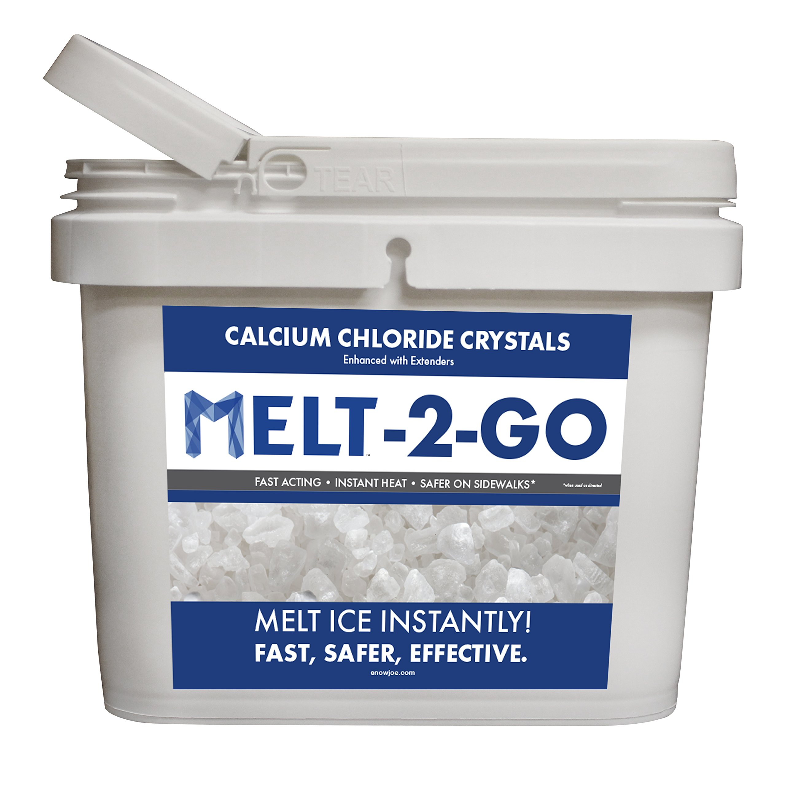 Snow Joe AZ-25-CC-BKT Melt-2-Go Premium Calcium Chloride Crystal Ice Melter, 25-lb Flip-Top Bucket W/Scooper