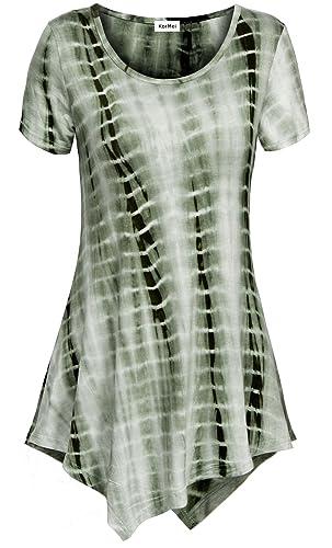 KorMei Camiseta - Túnica - Efecto Teñido - Cuello Redondo - Manga Corta - para Mujer