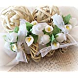 White Calla Lily and Rose Wicker Napkin Rings for Easter, Spring and Summer (Set of 4, 6, 8, 10, 12)