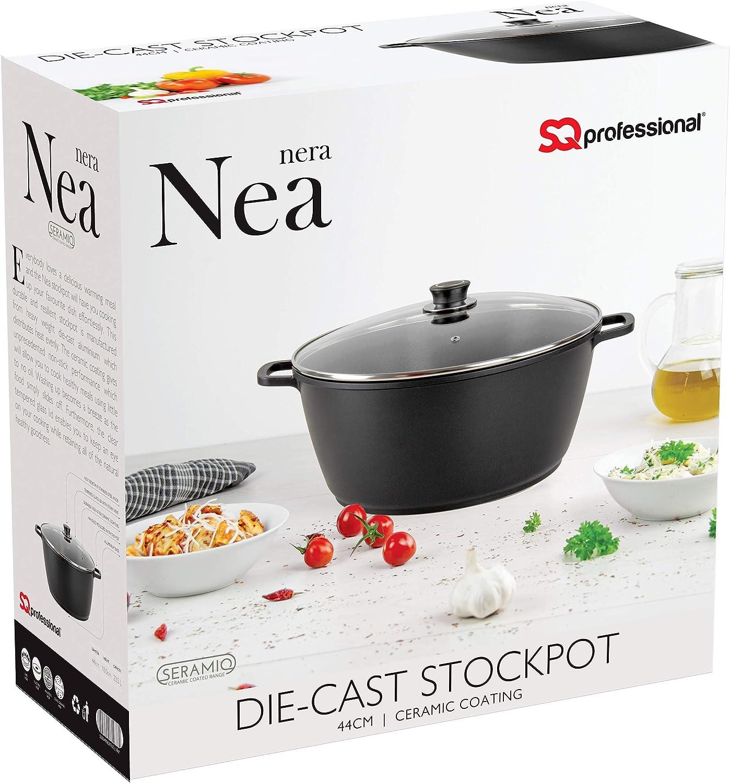 SQ Professional NEA Die-Cast Aluminium Stockpot Set with Lid 3-Layer Non-Stick Coating Cream, 20cm