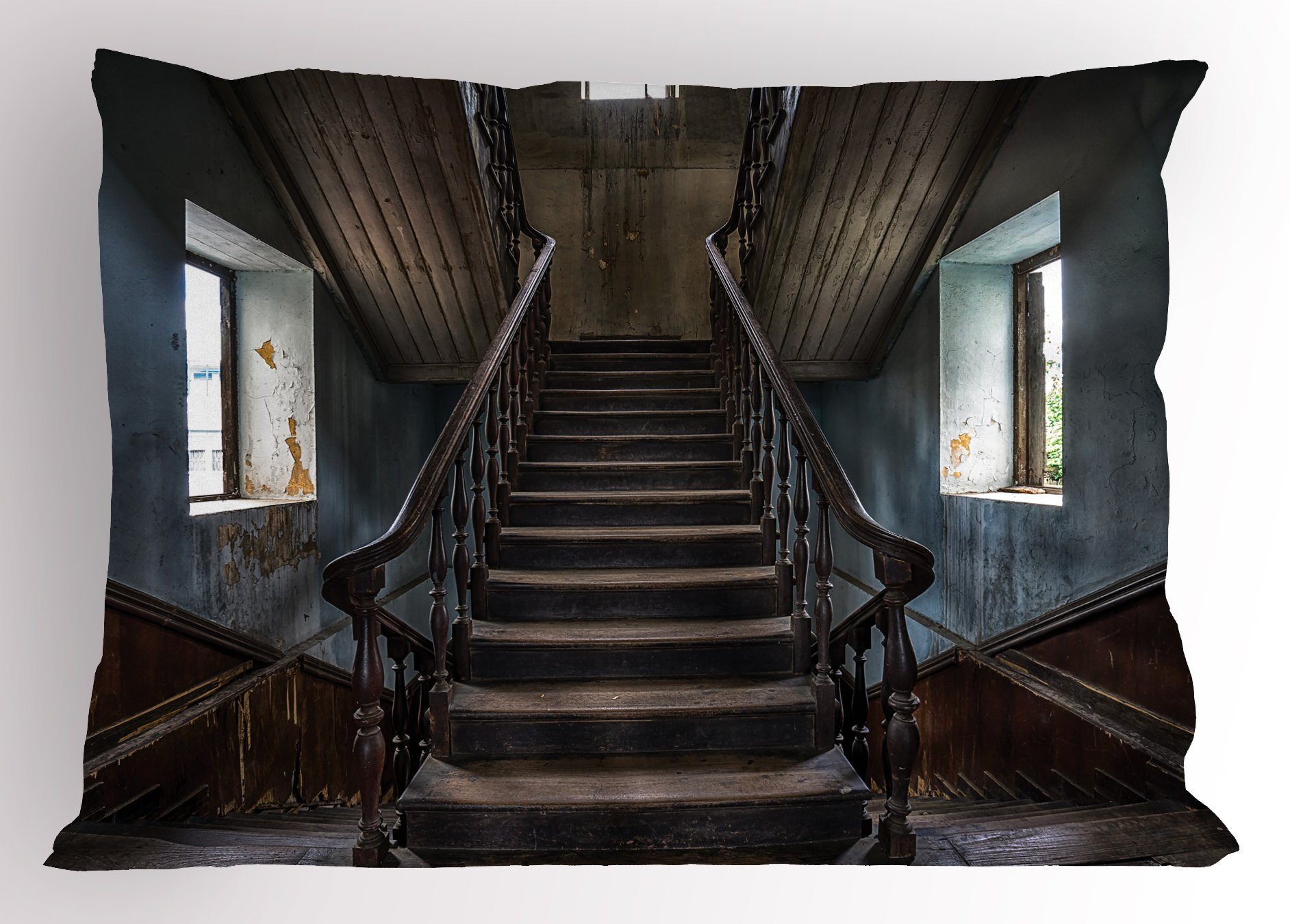 Lunarable Scary Pillow Sham, Horror Movie Theme Classic Deserted Abandoned Home with Old Vintage Stairs Artwork, Decorative Standard Size Printed Pillowcase, 26 X 20 inches, Multicolor