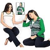 The Orange Tags Ladies Womens Pyjamas pj Set Long Sleeve Top Nightwear LoungeWear pajamas 3 Pcs Set