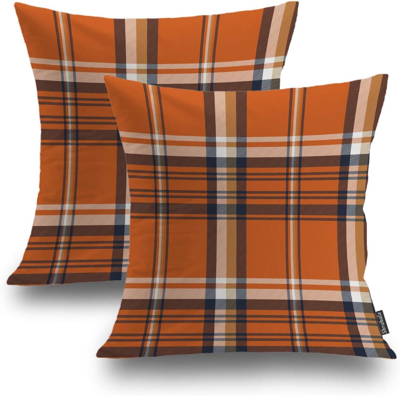 Shrahala Orange Plaid Decorative Pillow Covers, Orange Gingham Check Plaid Pattern Cushion Case for Sofa Bedroom Car Throw Pillow Covers Cushion Cover Square 16 x 16 inches Orange, Set of 2