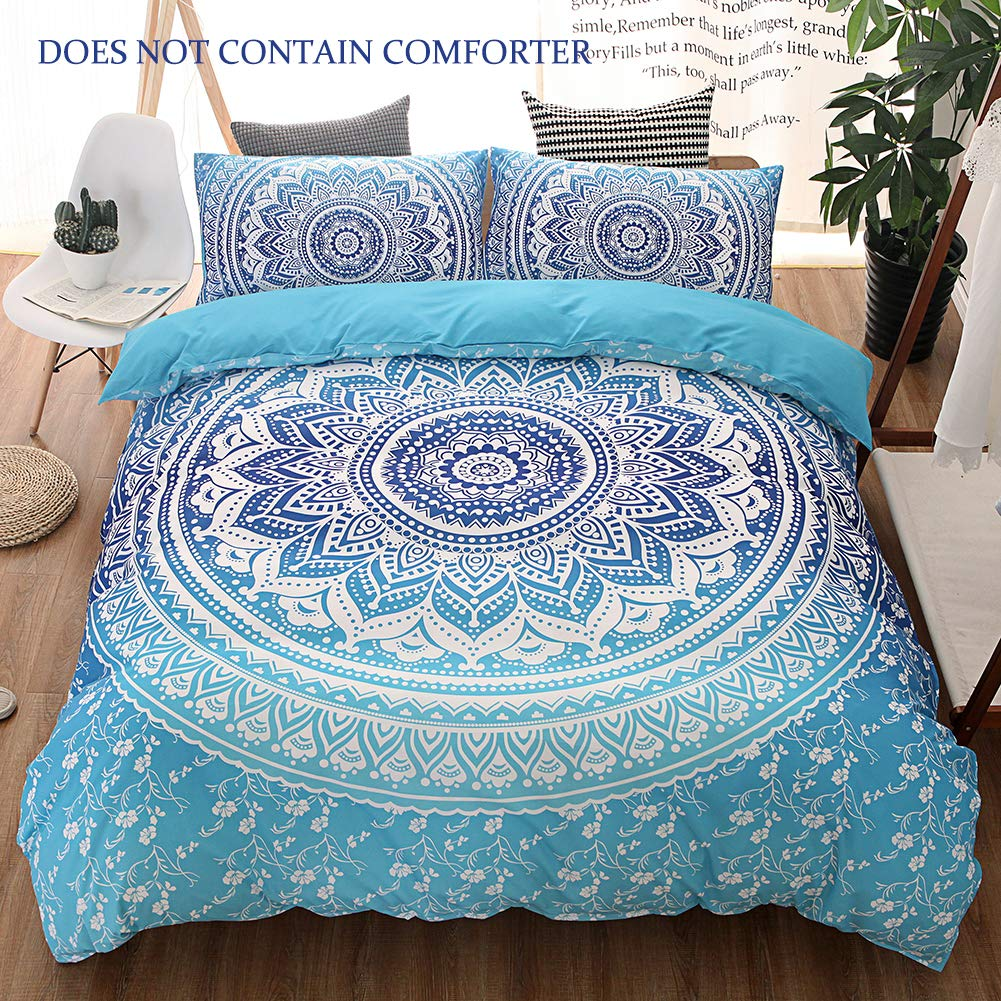 QYsong Bohemian Mandala Duvet Cover Set Queen Size (90x90 Inch), 3pc Include 1 Blue Boho Chic Microfiber Duvet Cover Zipper Closure and 2 Pillowcases, Bedding Set for Boys, Girls, Kids and Teens