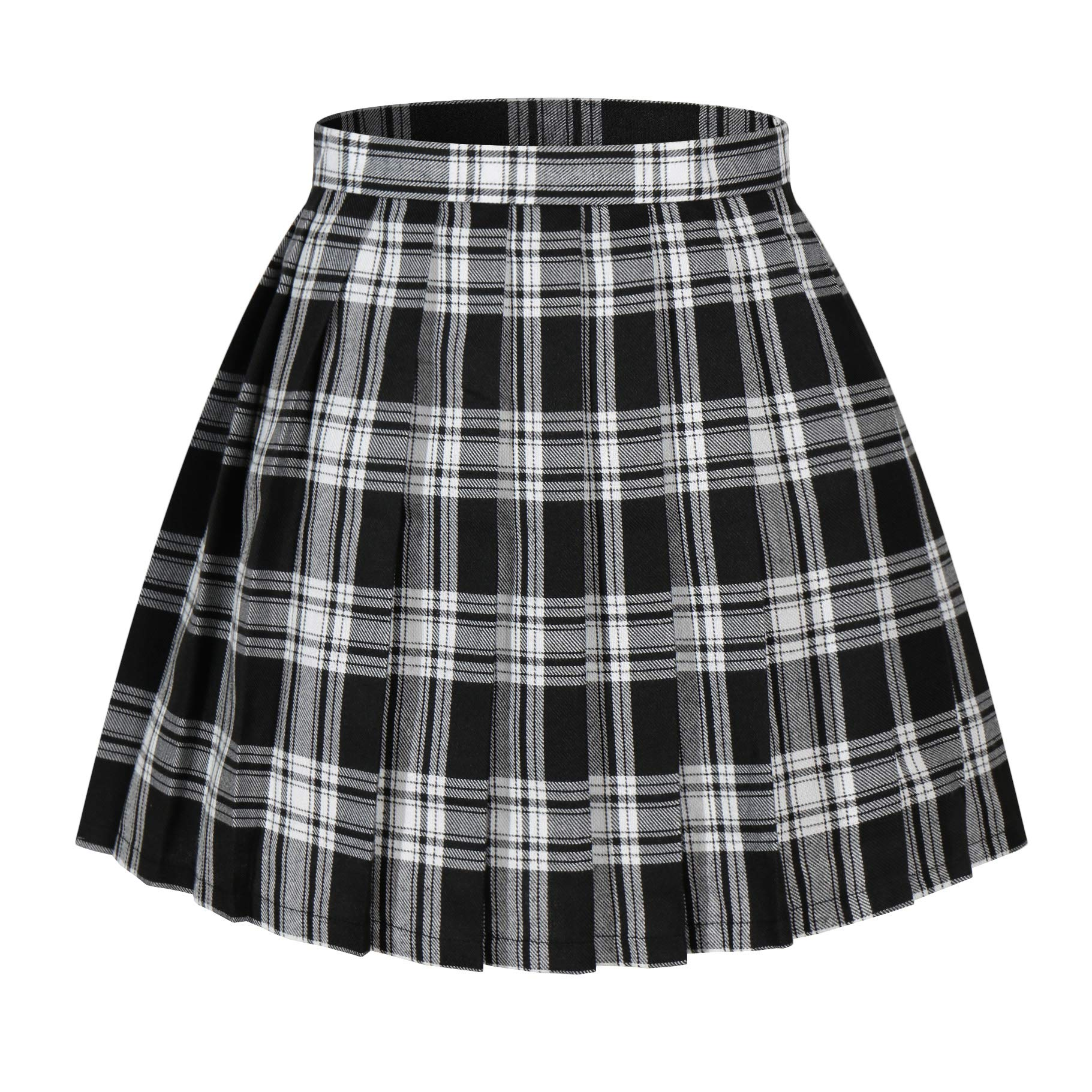Women`s Short Pleated Cosplay Halloween Costumes Skirts (3XL,Black white)