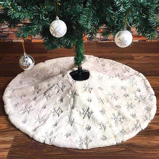 Tacobear Faldas para Árbol de Navidad 122cm Blanco Felpa Grande ...