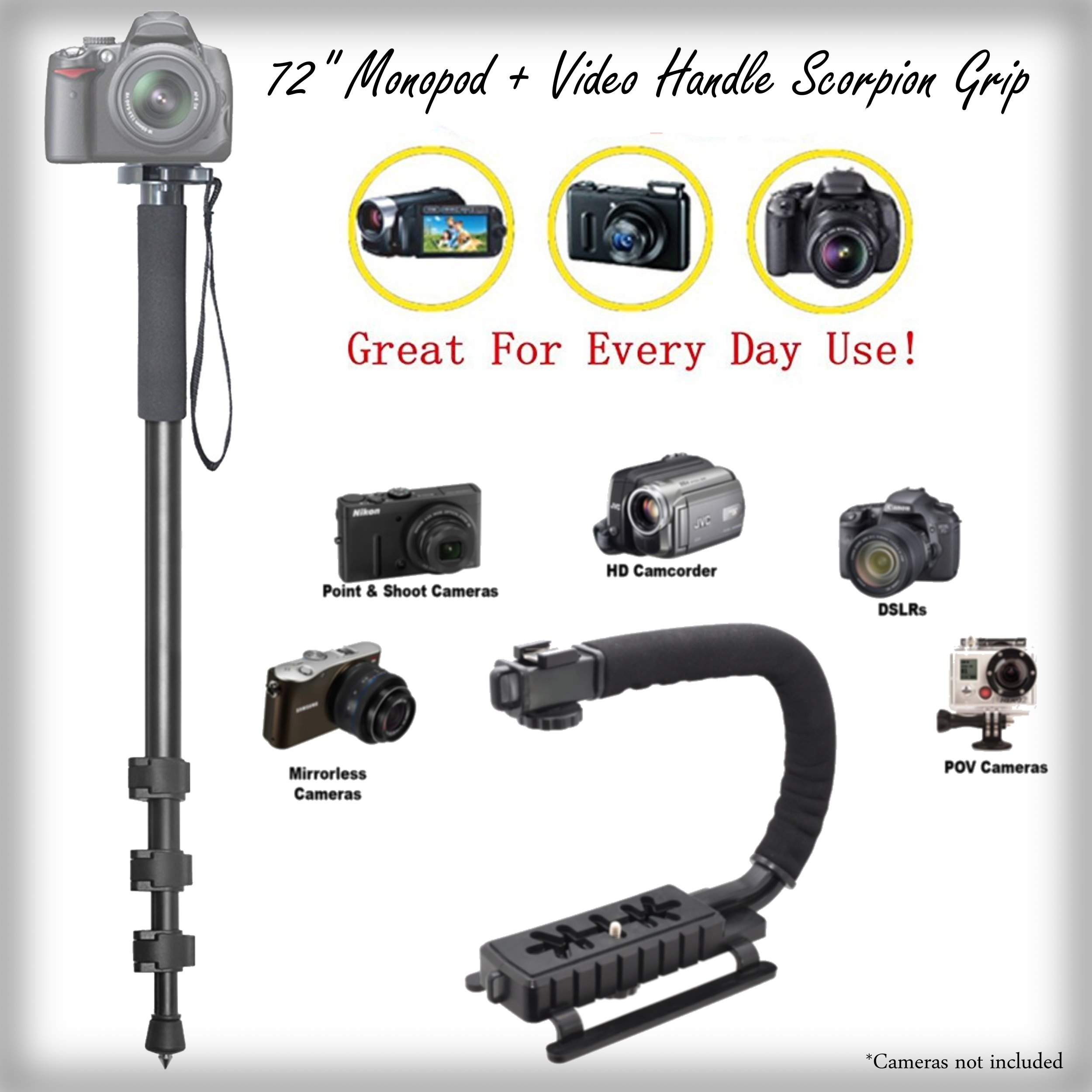Versatile 72'' Monopod + Video Handle Scorpion Grip Bundle for Nikon Coolpix S3600 - Padded Handles Supports Multiple Accessories