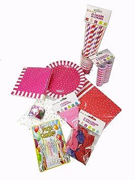 Juego de Decoracion Cumpleaños 93 piezas fucsia/lila/rosa ...