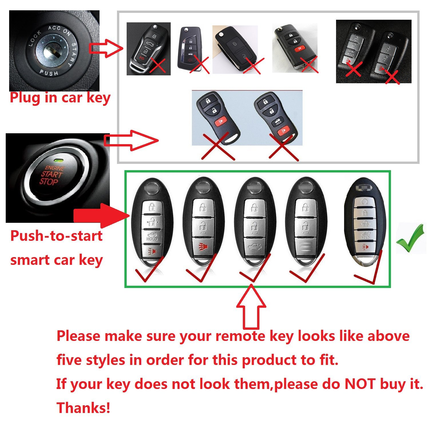 Mens Car Key Fob Case Womens Fob Cover Protective Shell 100/% Carbon Fiber Case For Nissan Key Fob Genuine Carbon Fiber Cover For Nissan Smart Keyless Fob Remote Key Red