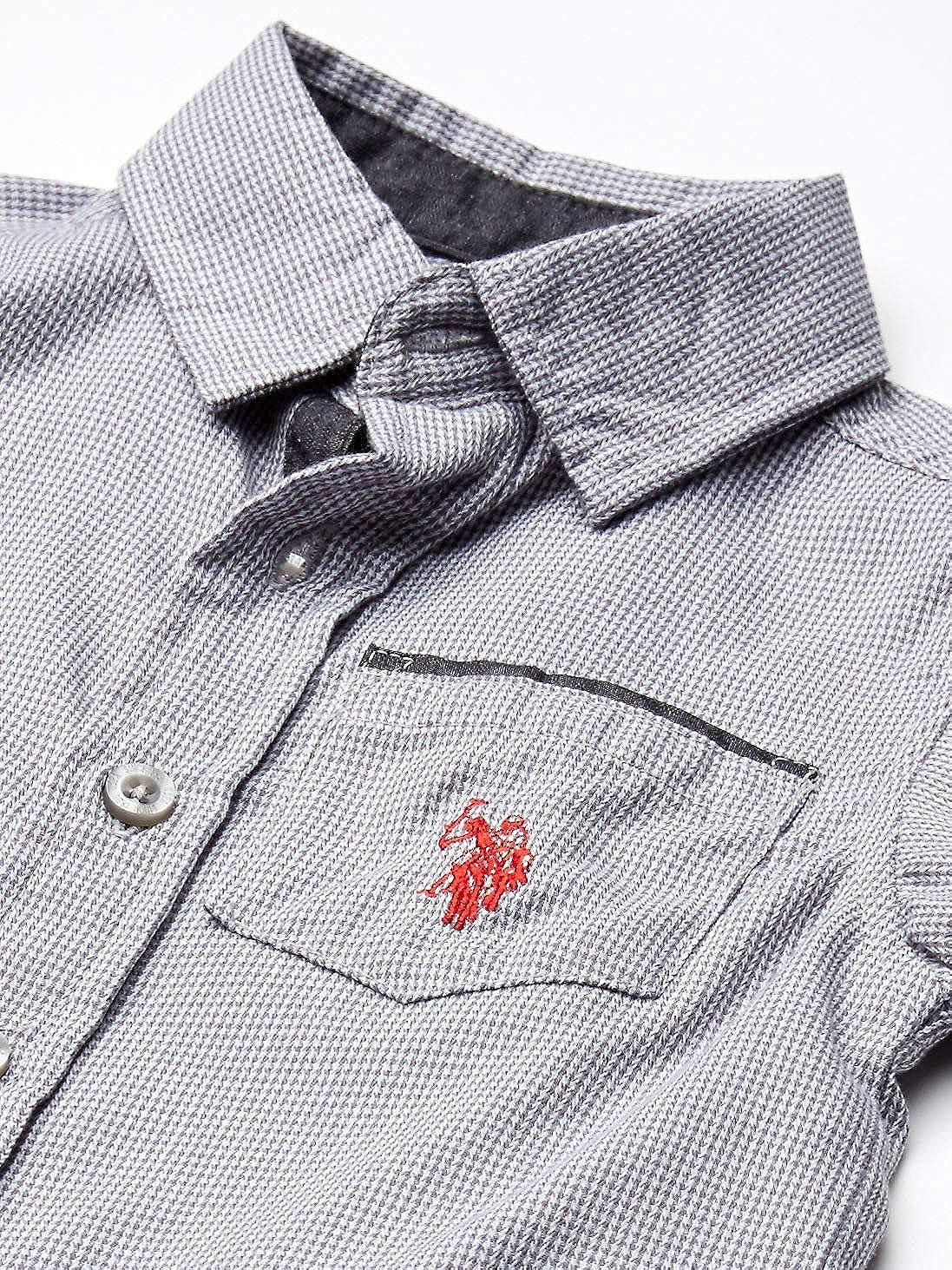 U.S Color Block Tee and Jogger Set Polo Assn Boys Short Sleeve Woven Shirt