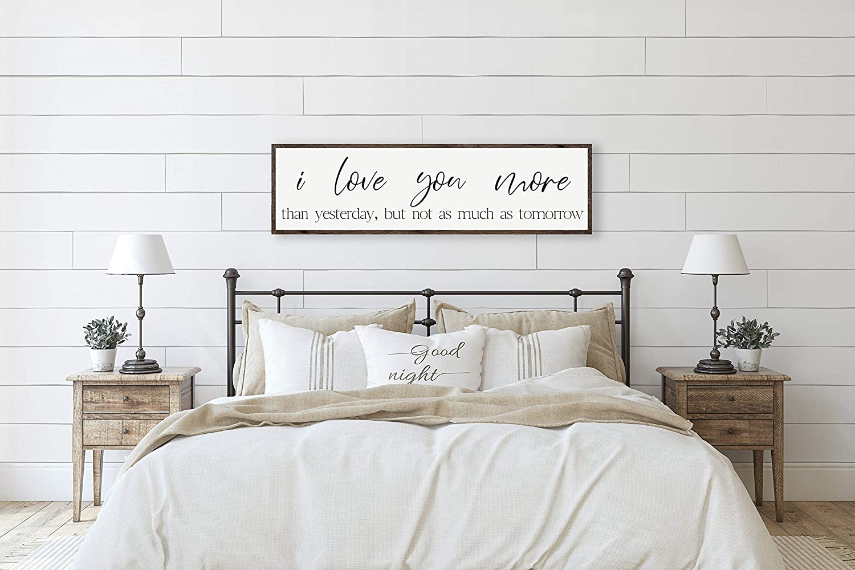 Amazon Com Pottelove Master Bedroom Wall Decor Above Bed Sign Art Farmhouse Love 6 In X20 Home Kitchen