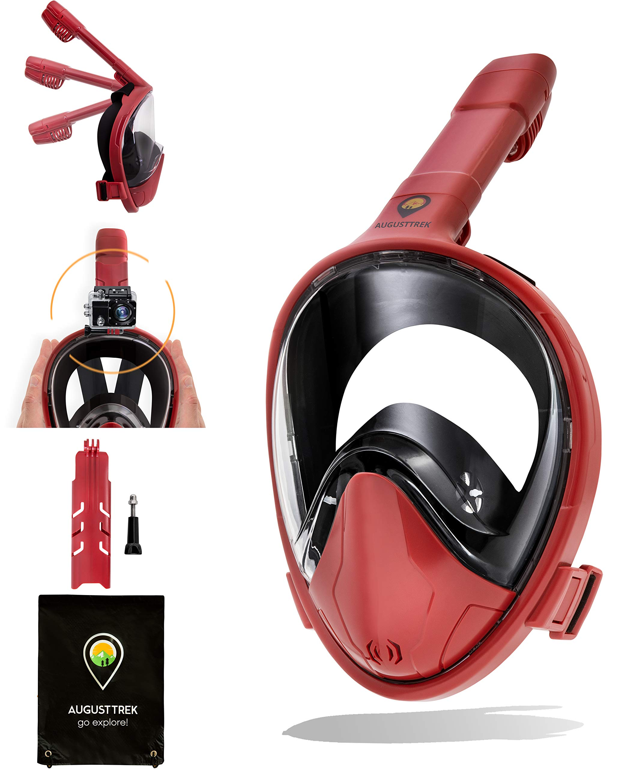 AugustTrek ONE80 GoPro Compatible Snorkel Mask - Full Face Design, Foldable Tube and Upgraded Wide 180° Lens, Largest in Market. Breathe Comfortably with Enhanced Easy Breathing Technology.