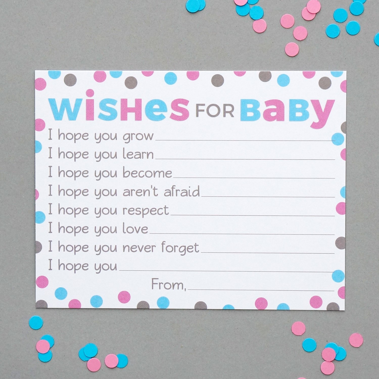 Amazon Wishes For Baby Cards Pink And Blue Polka Dots Boy