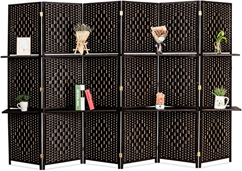 Bonnlo Upgraded Heavy Duty 6FT Tall Rattan Room Divider Screens with Partition Wall 2 Display Shelves, Indoor Folding Screen Dual-Sided Hinges for Home Office 6 Panels