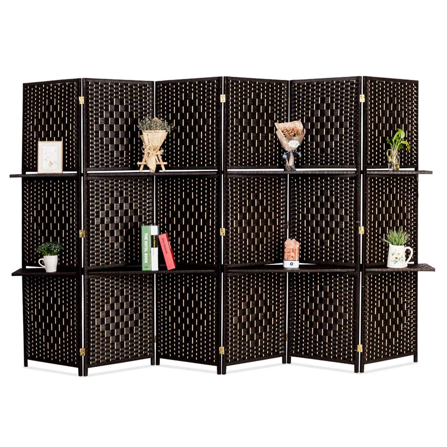 Bonnlo Upgraded Heavy Duty 6FT Tall Rattan Room Divider Screens with Partition Wall 2 Display Shelves, Indoor Folding Screen Dual-Sided Hinges for Home Office (6 Panels) by Bonnlo