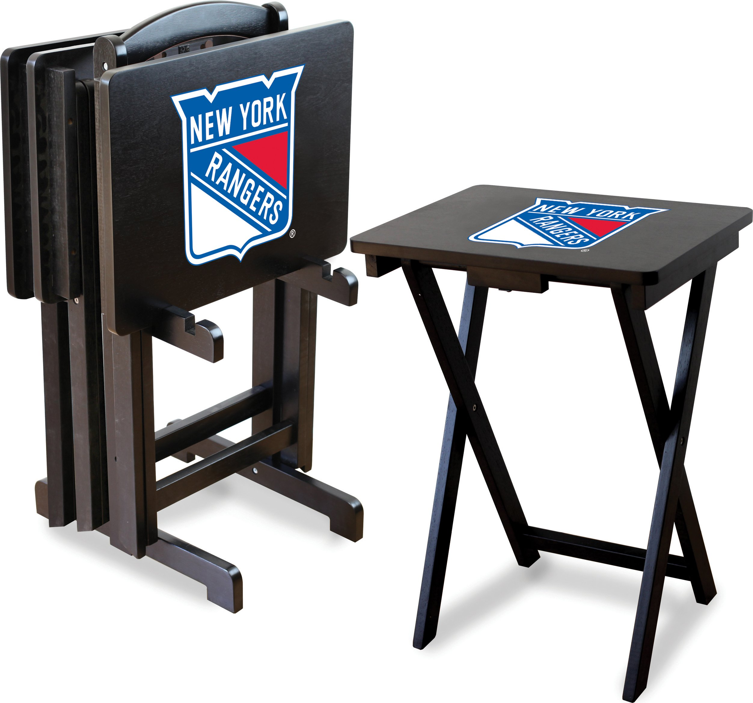 Imperial Officially Licensed NHL Merchandise: Foldable Wood TV Tray Table Set with Stand, New York Rangers by Imperial