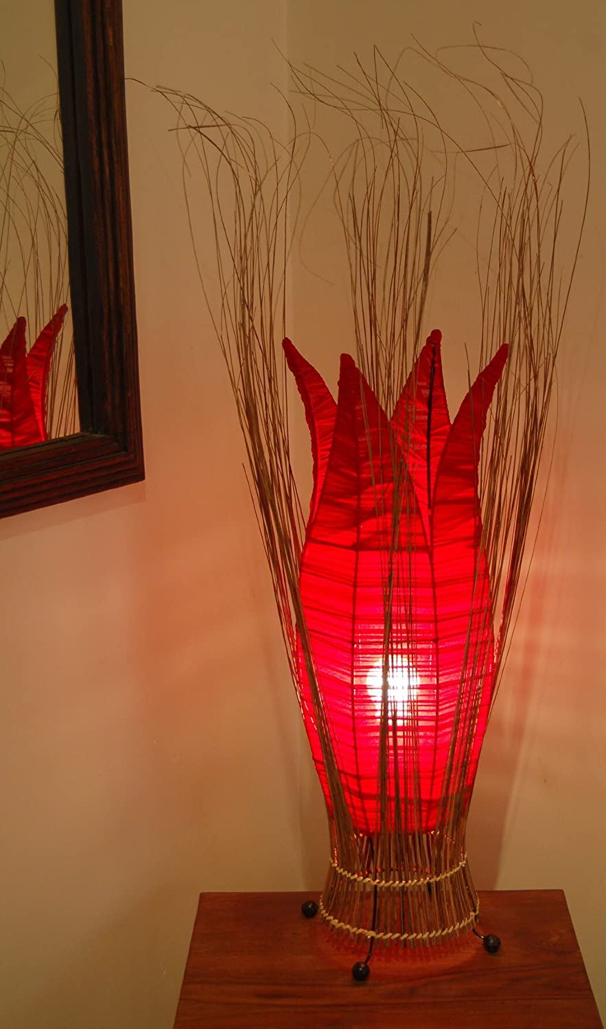 White 70cm tall Unusual Table Bedside Lamp-Handmade in Bali from Bamboo