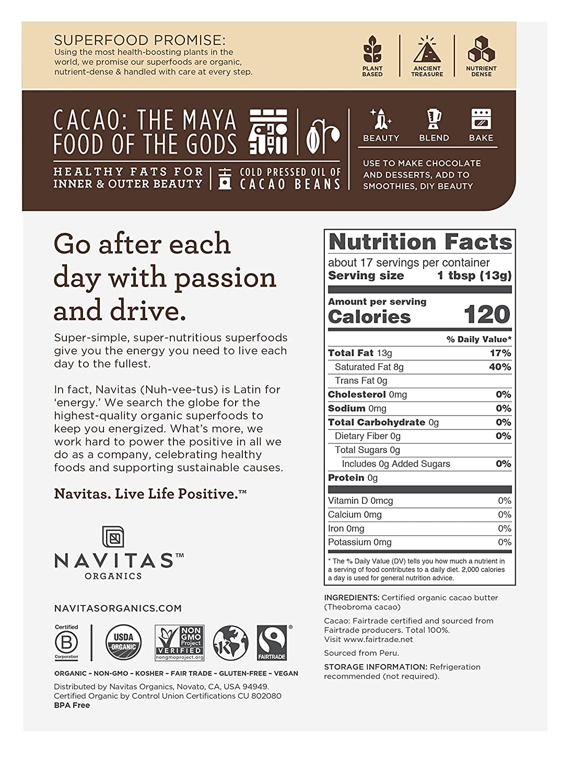 Navitas Organics Mantequilla de cacao, 8 onzas Bolsa ...