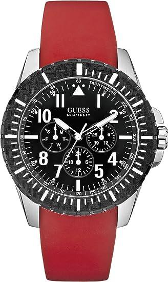 Guess W90077G1 - Reloj cronógrafo de cuarzo unisex con correa de caucho, color rojo: Amazon.es: Relojes
