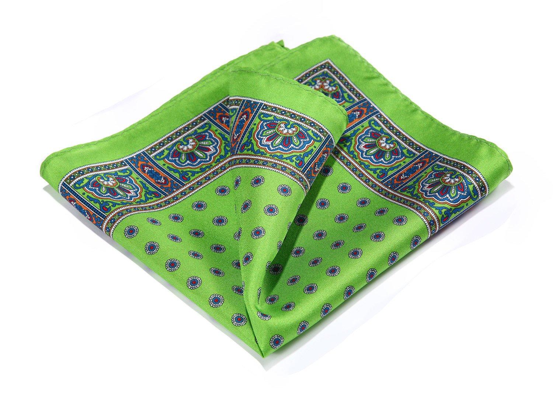 HISDERN Paisley Floral 100% Natural Silk Printed Pocket Square Mens Fashion Classic Handkerchief HN35U