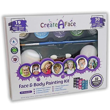 Set de Pintura Facial y Corporal + 32 Plantillas. Pintura no Tóxica y de Colores