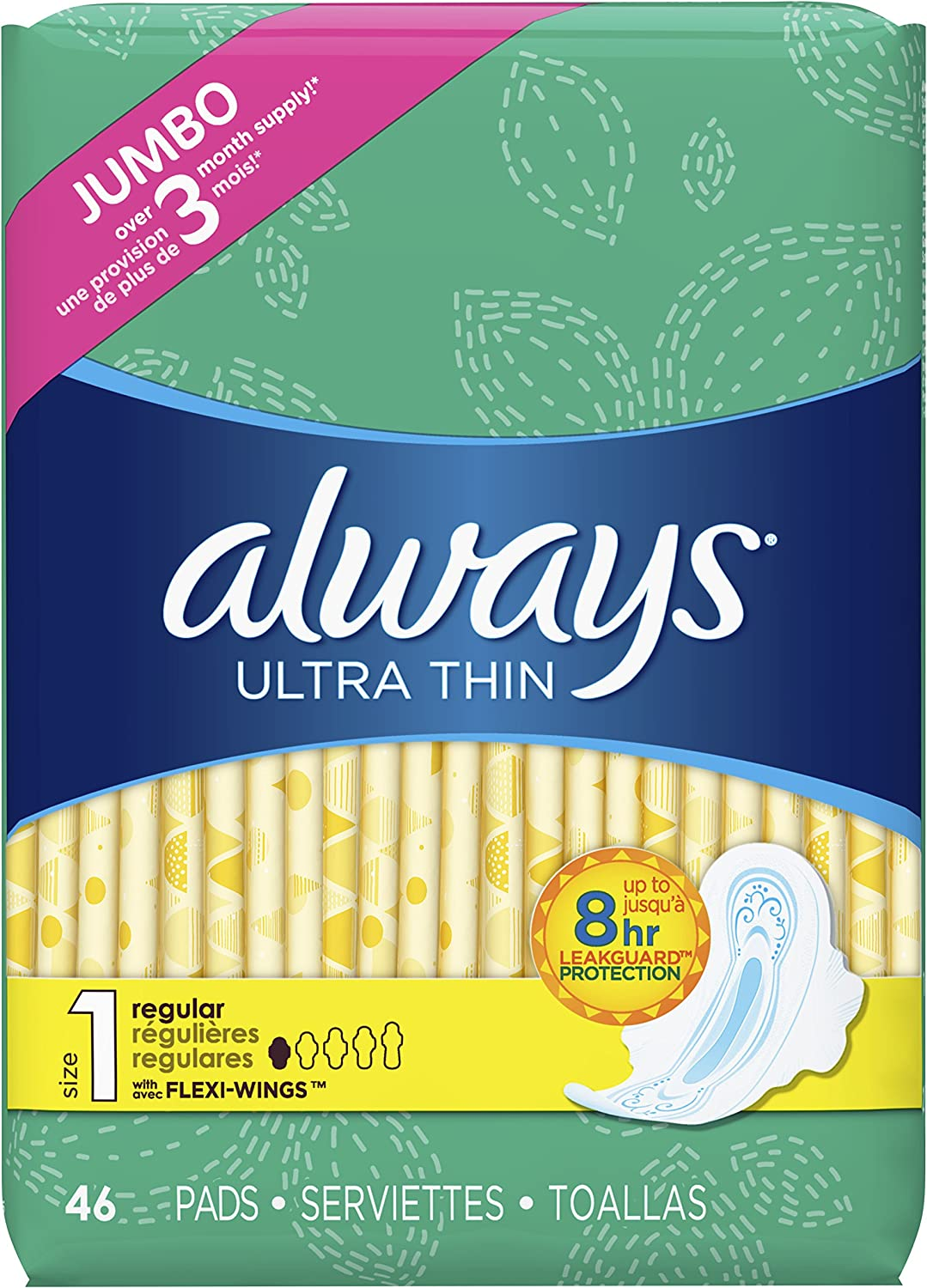 ALWAYS Ultra Thin Size 1 Regular Pads With Wings Unscented, 46 Count: Health & Personal Care