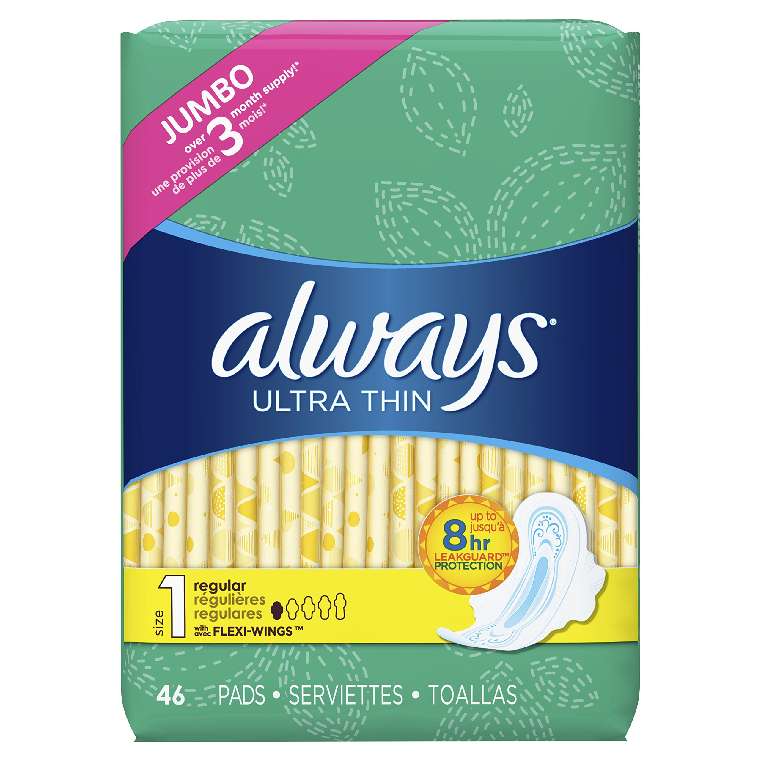 Always Ultra Thin, Size 1, Regular Pads With Wings, Unscented 46 Count product