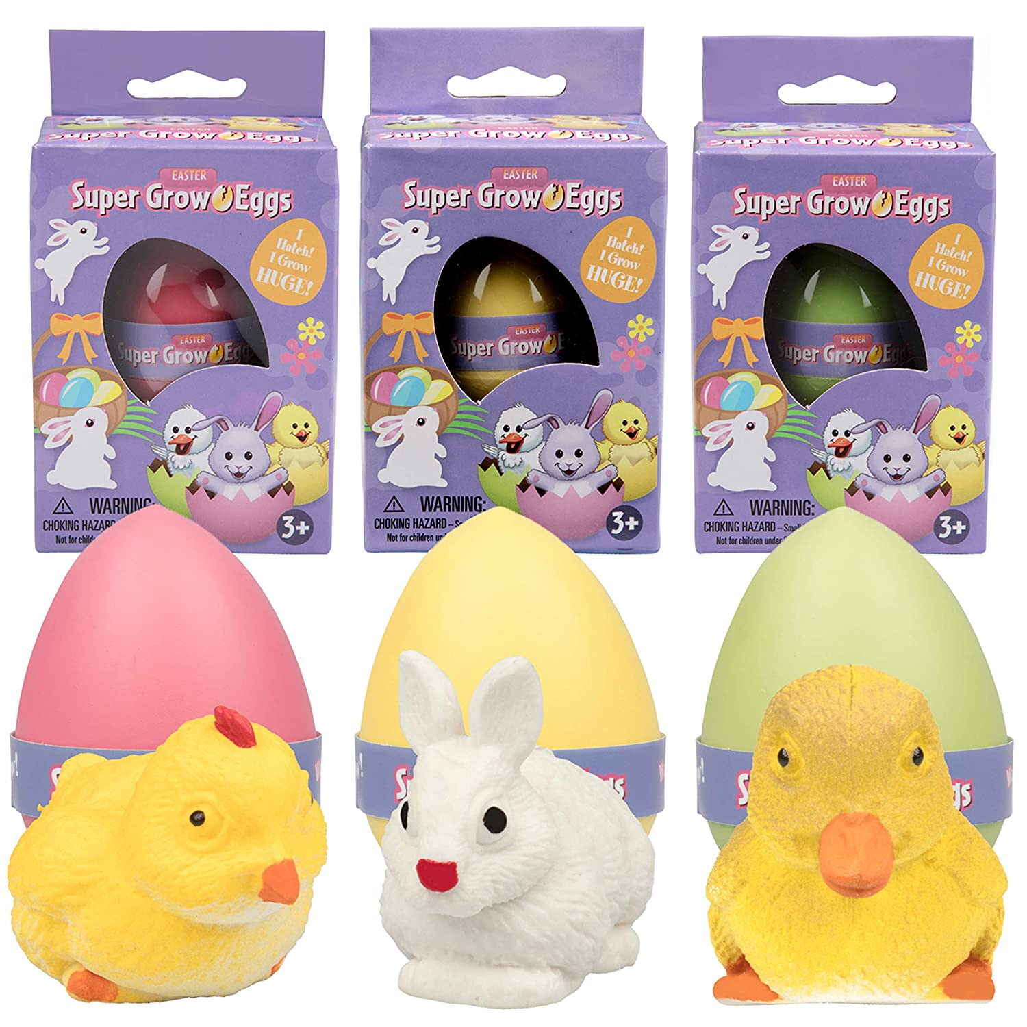 SCS Direct Easter Super Grow Eggs for Kids 1 Pack- Hatch and Grow for Easter Gifts, Baskets and Egg Hunts - Three Different Pets That Grow 5-6x Size- Bunny, Duck and Chick