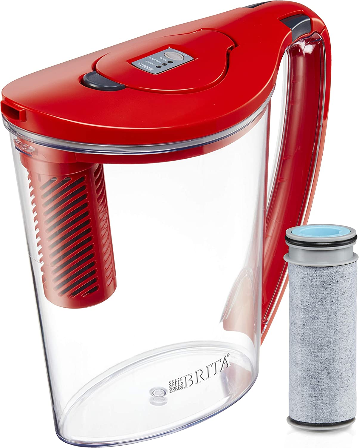 New Brita Stream 10Cup Red Water Pitcher Filter As You Pour Fast Hydro BPA Free