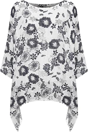 533ef1fbd74 WEARALL Women's Plus Floral Print Lined Cotton Hanky Hem Top Ladies Batwing  Sleeve - White -