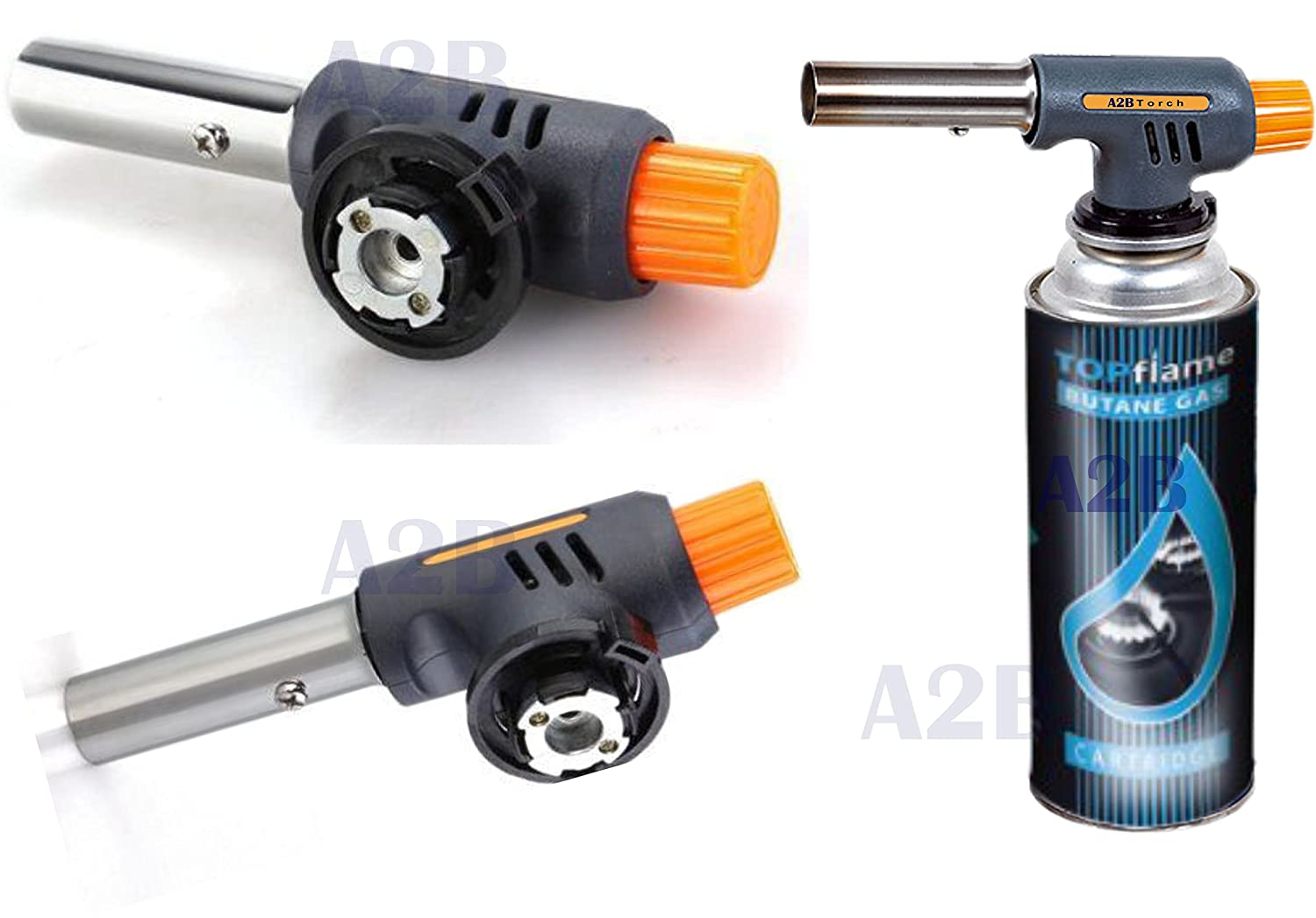 Blow Torch + Butane Gas Cans Flamethrower One Touch Auto Ignition Soldering BBQ (Blow Torch + 1 Can) 2You