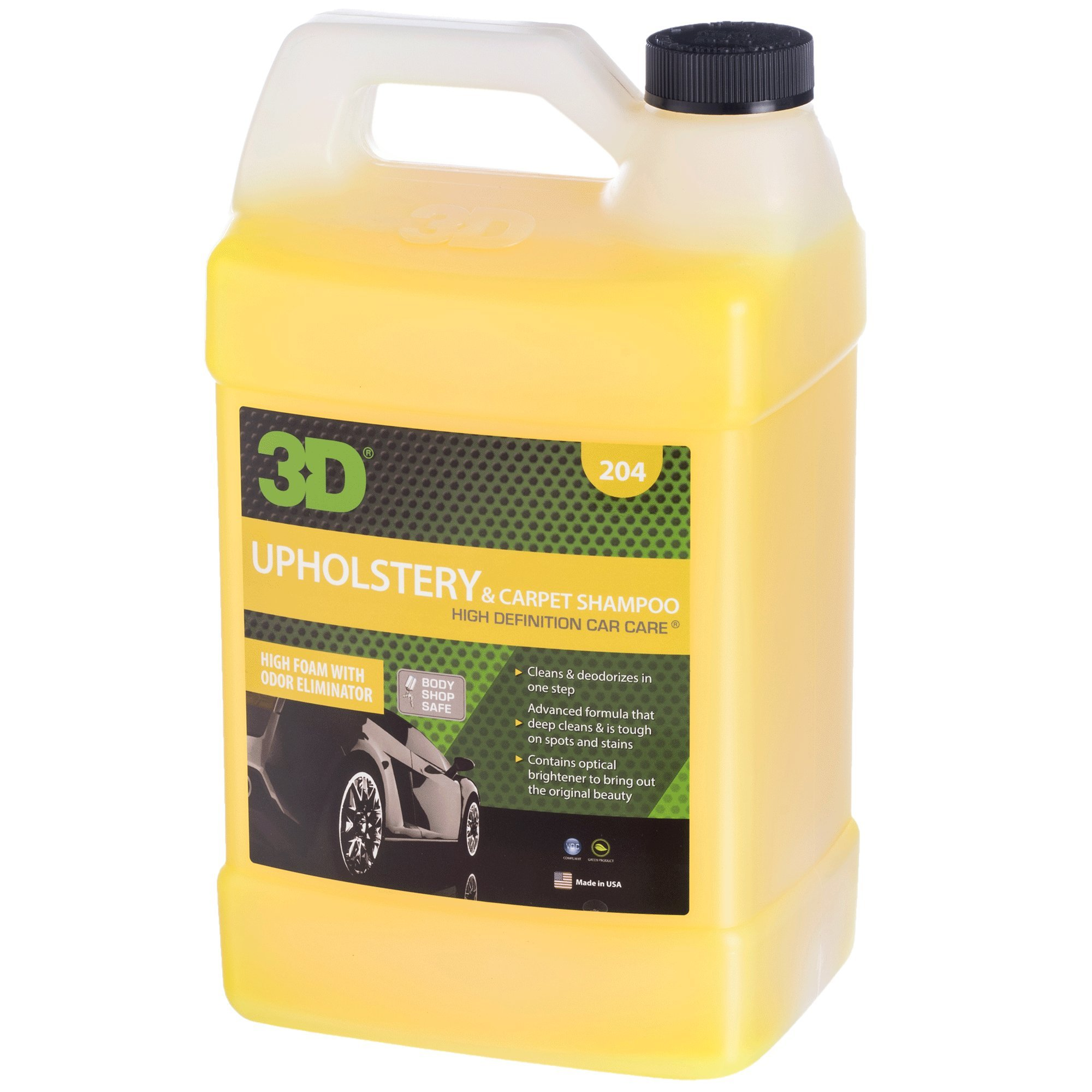 3D Upholstery & Carpet Shampoo - 1 Gallon | High Foam Stain Remover | Clean & Deoderize | Odor Eliminator | Made in USA | All Natural | No Harmful Chemicals
