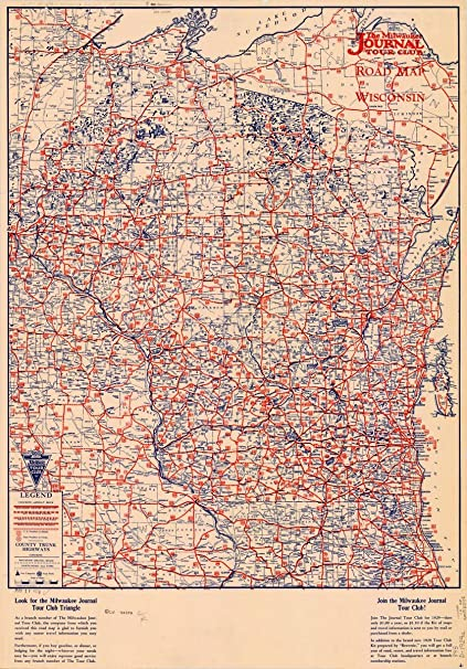 Amazon.com: Historic Map | Wisconsin 1929 | Milwaukee Journal Tour on