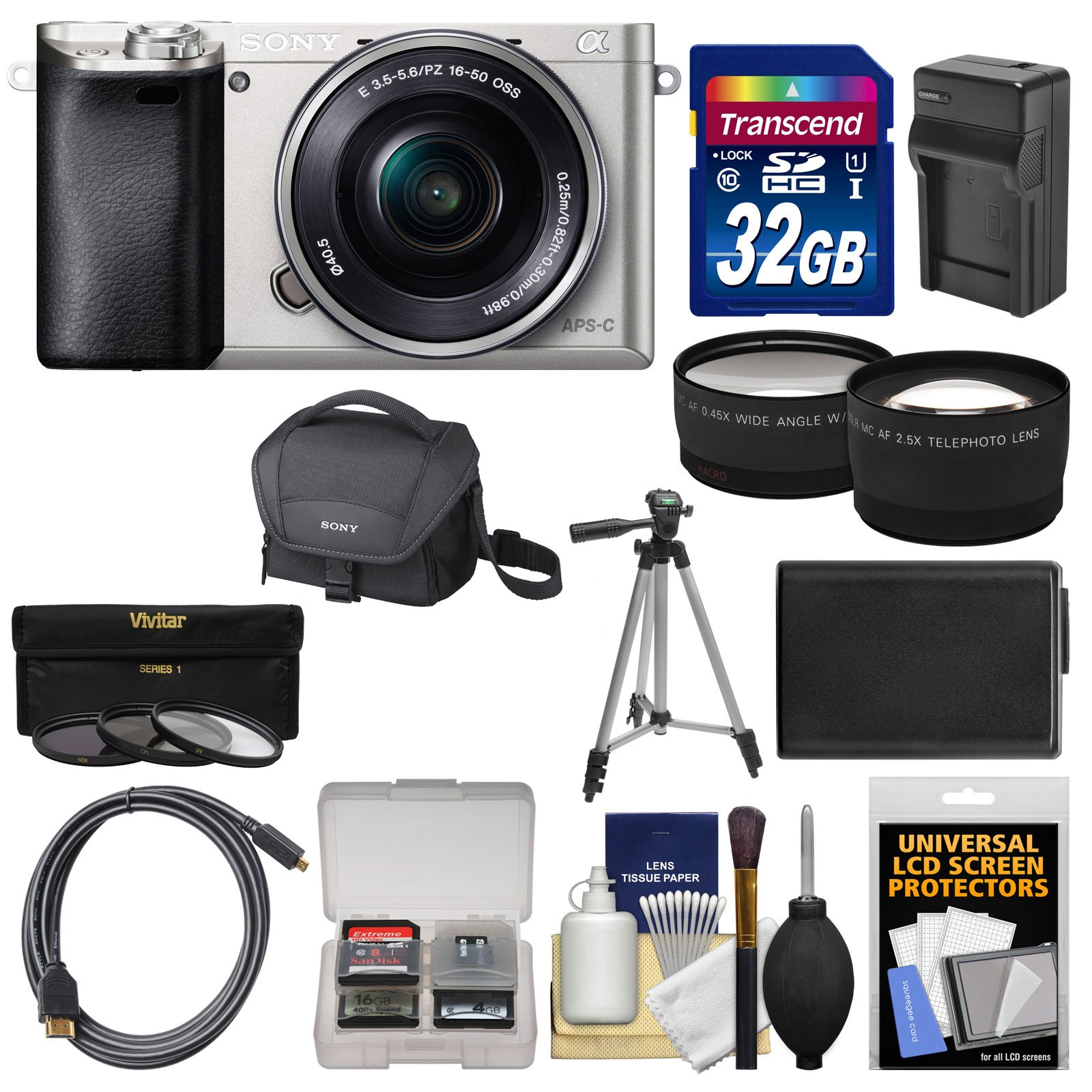Sony Alpha A6000 Wi-Fi Digital Camera & 16-50mm Lens (Silver) with 32GB Card + Case + Battery/Charger + Tripod + Tele/Wide Lens Kit by Sony