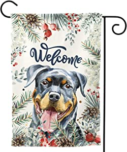 DZGlobal Welcome Rottweiler and Winter Flower Home Flag 12 x 18 Inch Double-Sided Outdoor Yard Flag Decorative Puppy Dog Pet Rescue Garden Flag