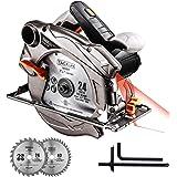 Sega Circolare, 1500W Compatibile Lama 185mm e 190mm, Profondità di Taglio 63mm(90°), 45mm(45°), 4500RPM, Protettore in Alluminio, 3m Cavo Motore in Rame Puro, Tagliare Legno, Metallo Tacklife PES01A