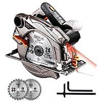 Scie Circulaire, Tacklife 1500W, 2 Lames Ø185mm (40T&24T) et Compatible avec 190mm, Capacité de Coupe: 63mm (90°), 45mm (45°), Protecteur en Aluminium, Moteur en Cuivre Pur, Câble 3m | PES01A