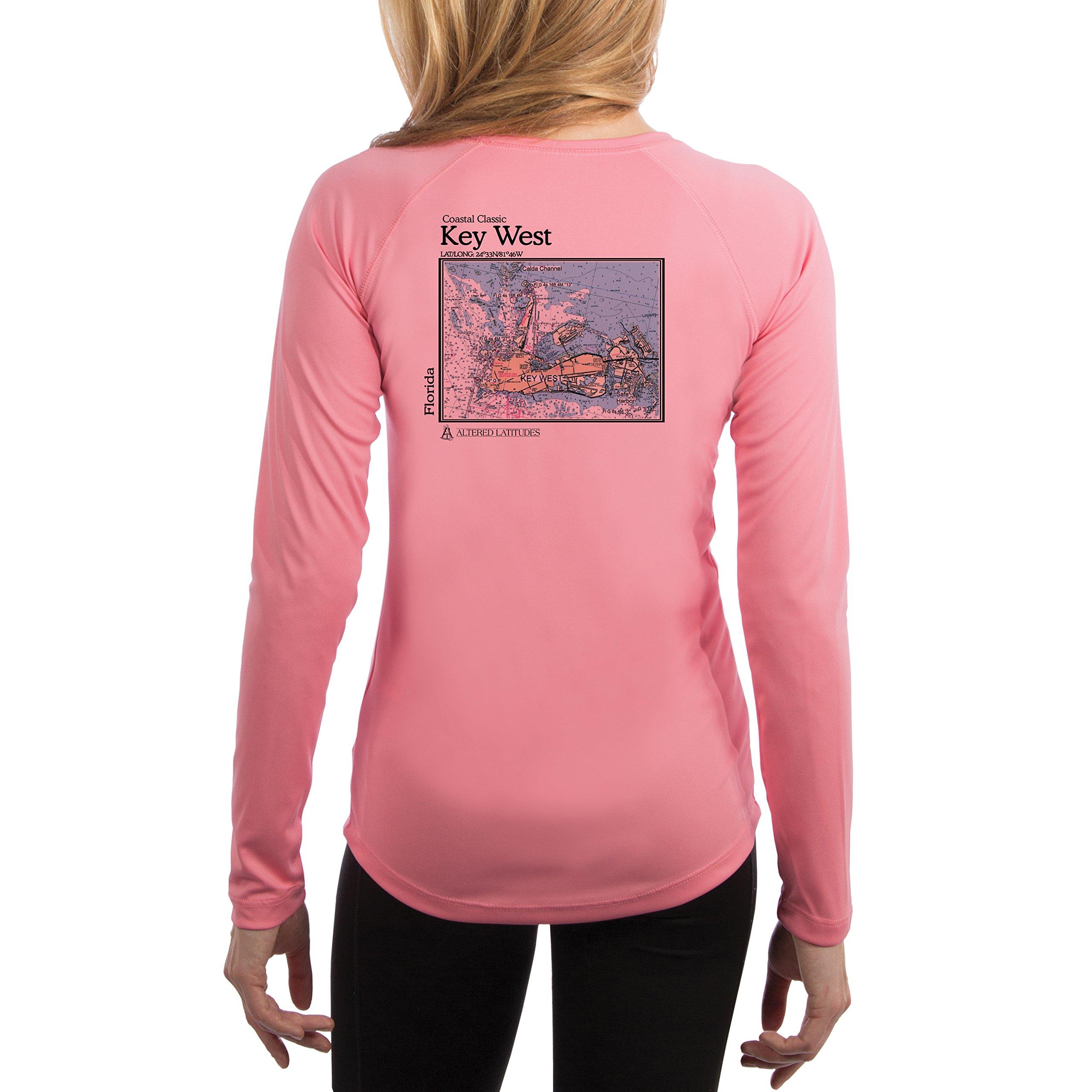 Key West Chart Women's UPF 50+ Sun Protection Long Sleeve T-shirt Medium Pretty Pink by Altered Latitudes
