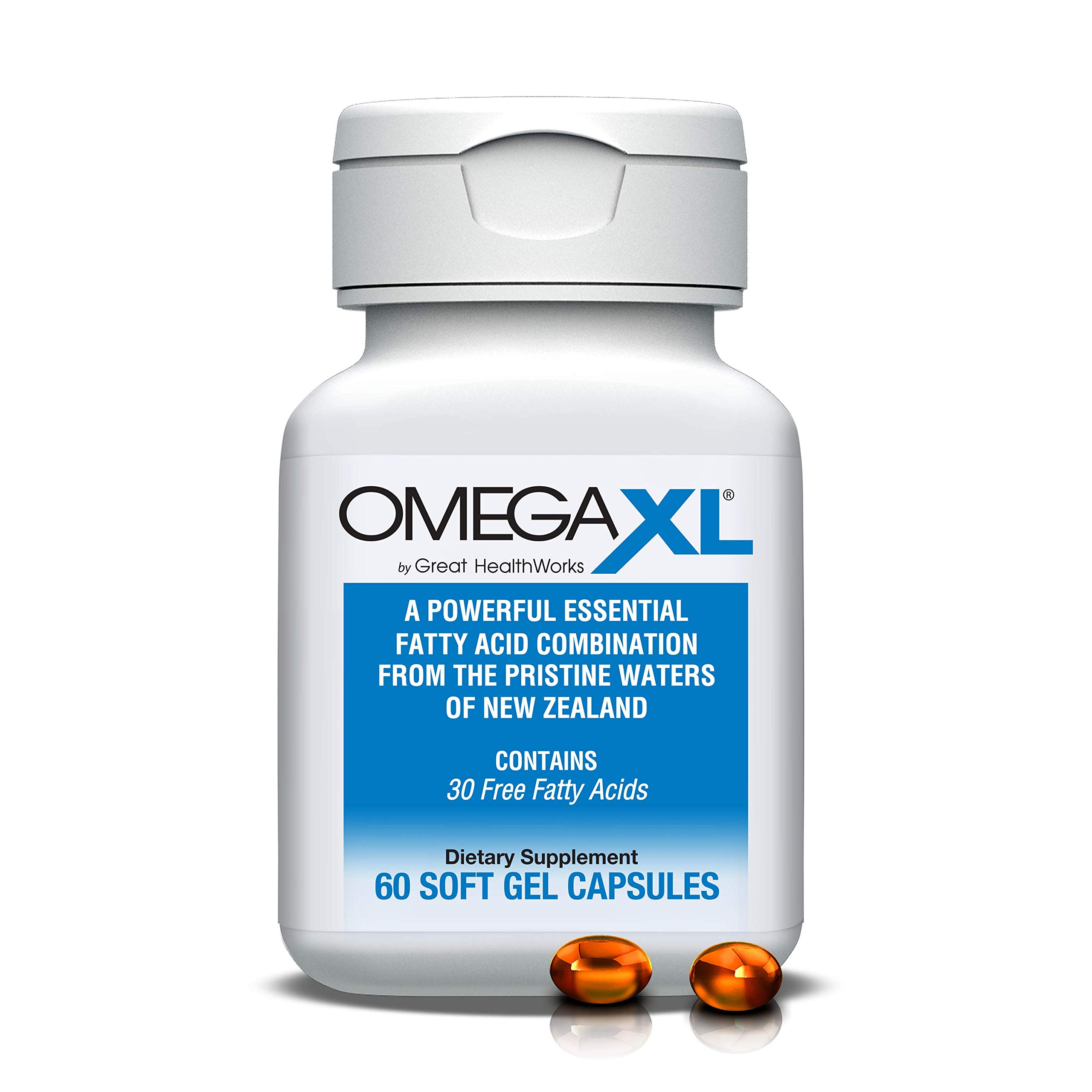 Omega XL 60 Capsules - Green Lipped Mussel New Zealand, Omega 3 Natural Joint Pain Relief & Inflammation Supplement by Omega XL®