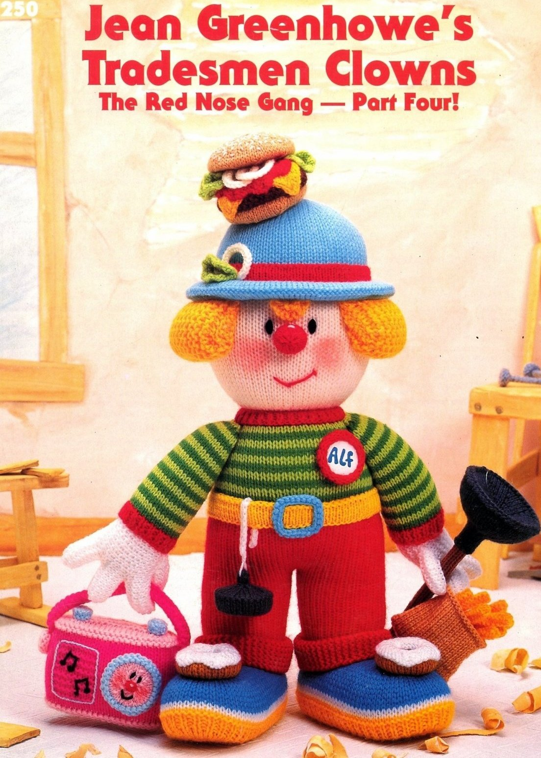 Jean Greenhowe's tradesmen clowns knitting pattern booklet (The red nose gang)- Part Four